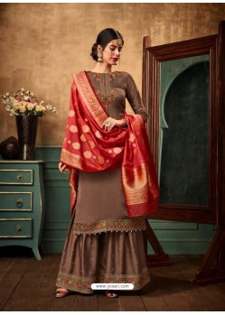 Light Brown Satin Georgette Heavy Embroidered Designer Sarara Suit