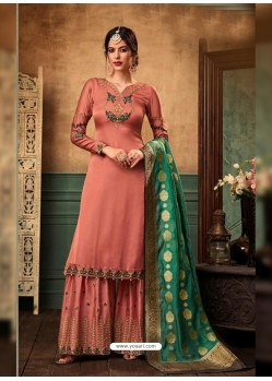 Peach Satin Georgette Heavy Embroidered Designer Sarara Suit