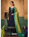 Navy Blue Satin Georgette Heavy Embroidered Designer Sarara Suit