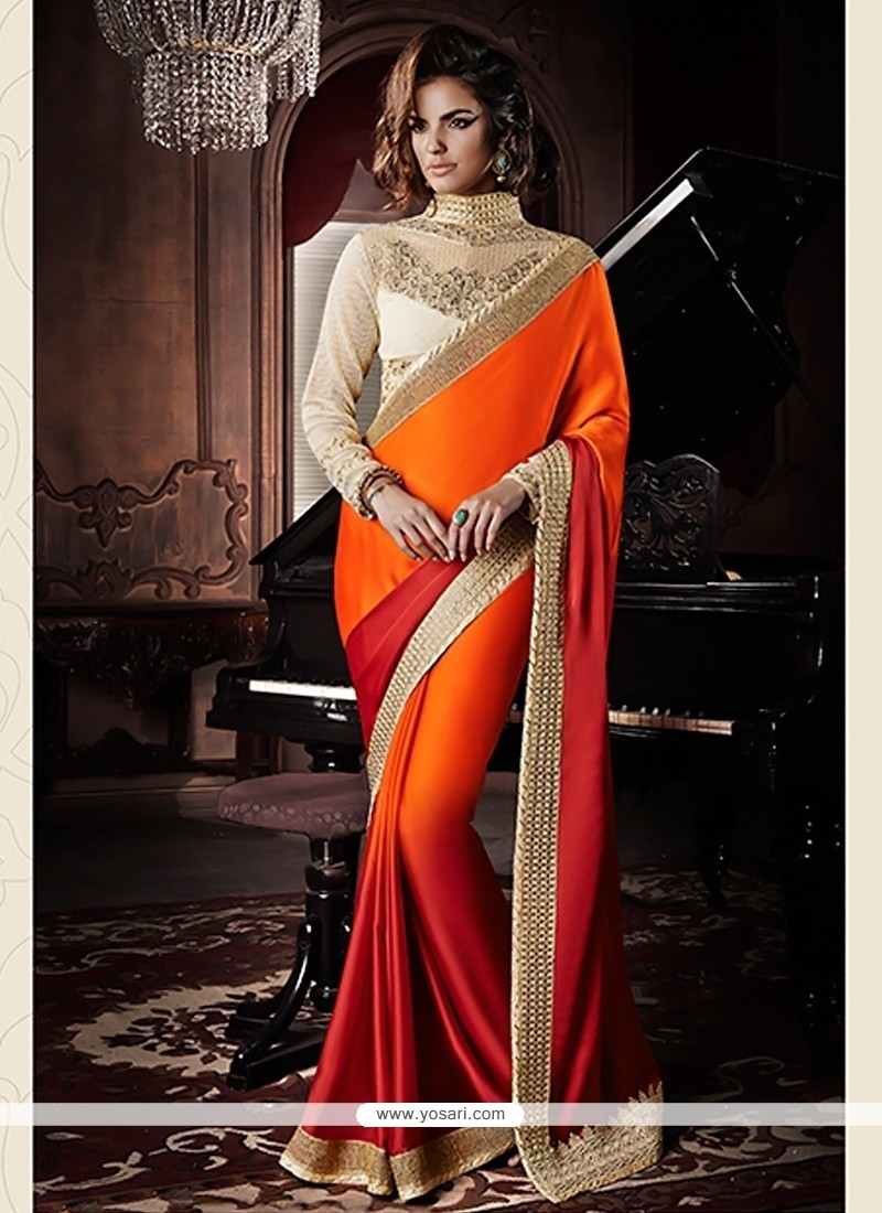 Orange And Red Shaded Satin Georgette Saree