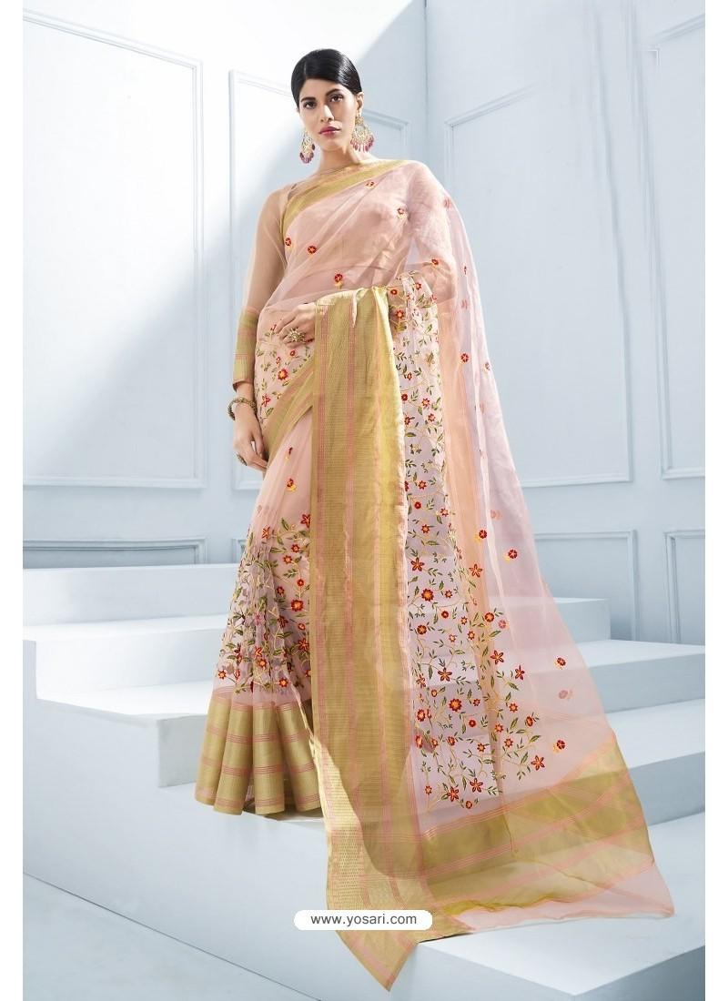 4cf170a5663dcb Buy Baby Pink Organza Silk Embroidered Designer Saree | Designer Sarees