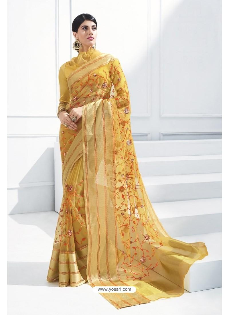 bea639212d Buy Yellow Organza Silk Embroidered Designer Saree | Designer Sarees