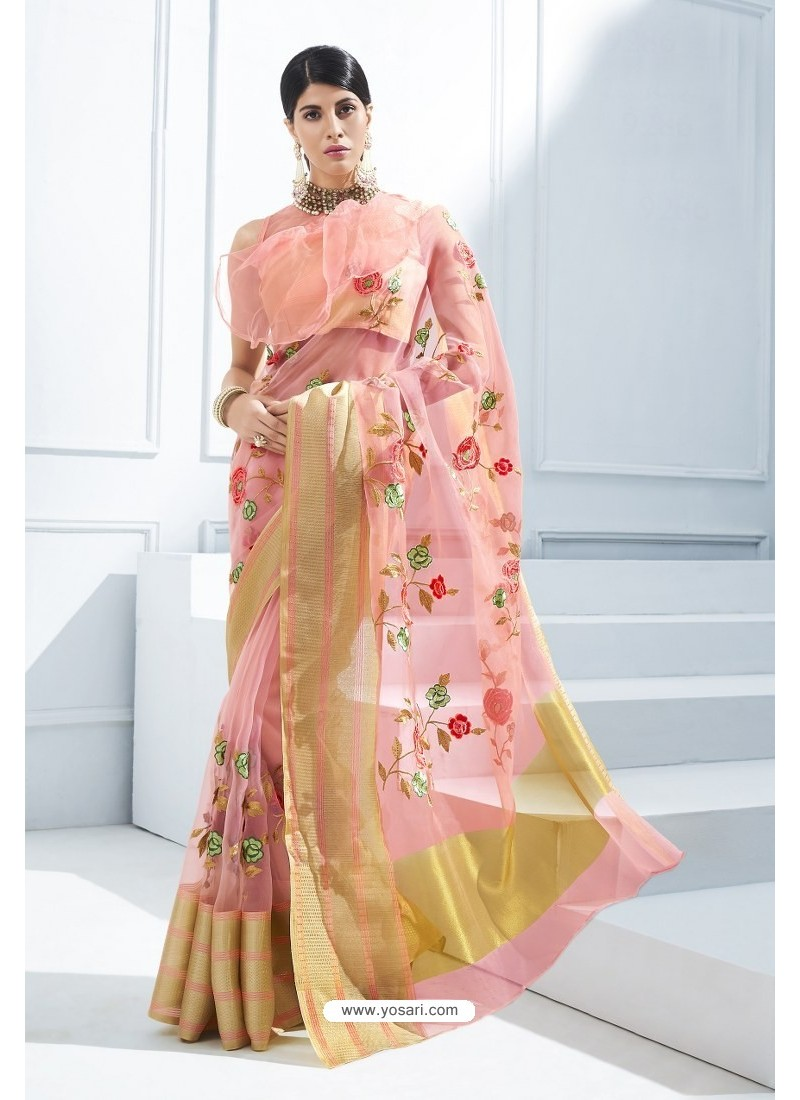 f9cf592734 Buy Peach Organza Silk Embroidered Designer Saree | Designer Sarees