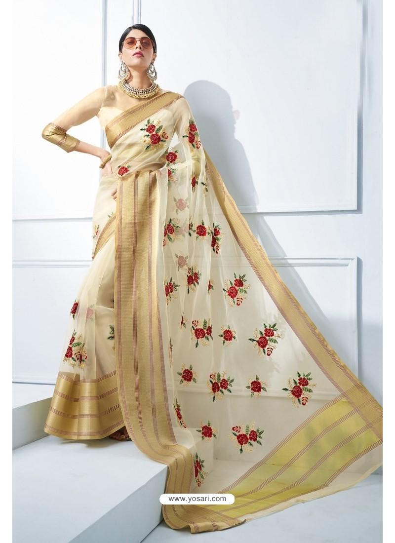f45a4551c8e509 Buy Off White Organza Silk Embroidered Designer Saree | Designer Sarees