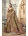 Camel Soft Silk Heavy Embroidery Designer Saree