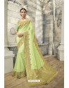 Sea Green Soft Silk Heavy Embroidery Designer Saree