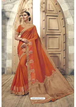 Orange Soft Silk Heavy Embroidery Designer Saree
