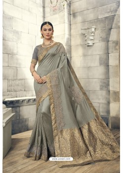 Grey Soft Silk Heavy Embroidery Designer Saree