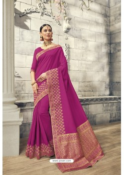 Medium Violet Soft Silk Heavy Embroidery Designer Saree