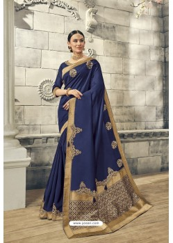 Navy Blue Soft Silk Heavy Embroidery Designer Saree