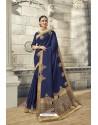 Navy Blue Soft Silk Heavy Embroidery Designer Saree