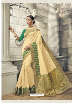 Cream Soft Silk Heavy Embroidery Designer Saree