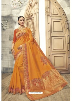 Mustard Soft Silk Heavy Embroidery Designer Saree