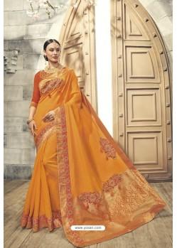 Mustard Soft Silk Heavy Embroidery Designer Saree