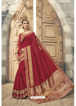 Red Soft Silk Heavy Embroidery Designer Saree