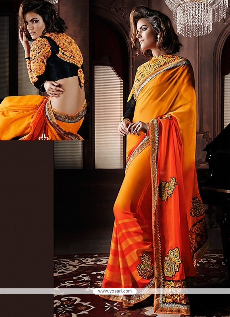 Yellow And Orange Shaded Georgette Saree