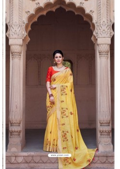 Yellow Vicose Jari Pitta Thread Worked Saree