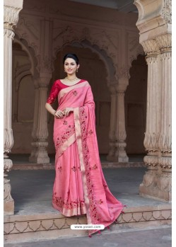 Light pink Vicose Jari Pitta Thread Worked Saree