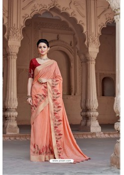 Light Orange Vicose Jari Pitta Thread Worked Saree