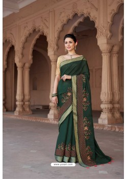 Dark Green Vicose Jari Pitta Thread Worked Saree