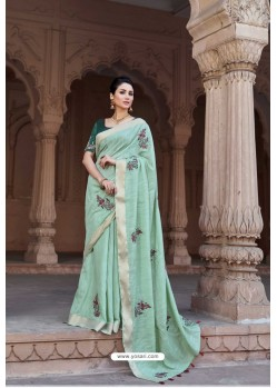 Sky Blue Vicose Jari Pitta Thread Worked Saree