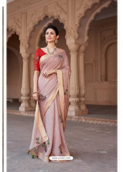 Dusty Pink Vicose Jari Pitta Thread Worked Saree