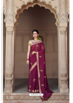 Deep Wine Vicose Jari Pitta Thread Worked Saree