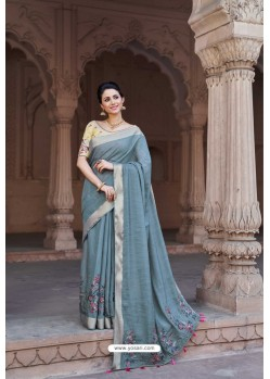 Aqua Grey Vicose Jari Pitta Thread Worked Saree