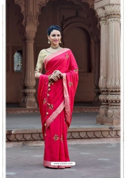 Crimson Vicose Jari Pitta Thread Worked Saree