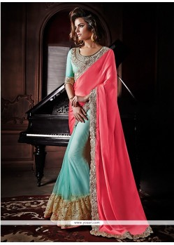 Sky Blue And Pink Net And Georgette Saree