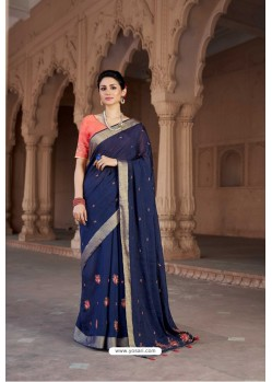 Navy Blue Vicose Jari Pitta Thread Worked Saree