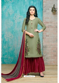 Mehendi And Maroon Upada Silk Embroidered Palazzo Suit