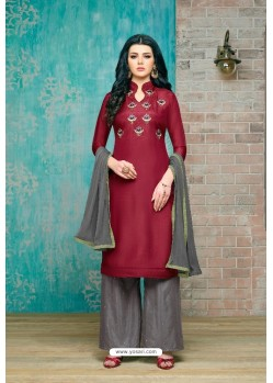 Maroon And Grey Upada Silk Embroidered Palazzo Suit
