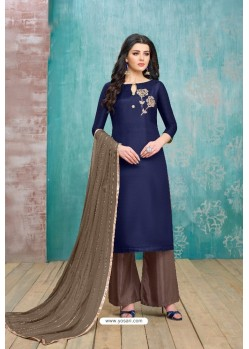 Navy Blue Upada Silk Embroidered Palazzo Suit