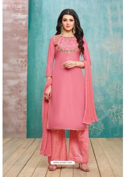 Light Pink Upada Silk Embroidered Palazzo Suit
