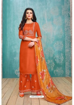 Orange Upada Silk Embroidered Palazzo Suit