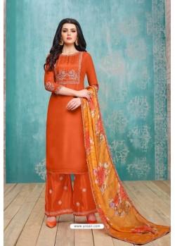 Orange Upada Silk Embroidered Palazzo Suit