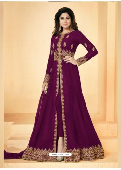 Purple Real Georgette Embroidered Floor Length Suit