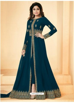 Teal Real Georgette Embroidered Floor Length Suit