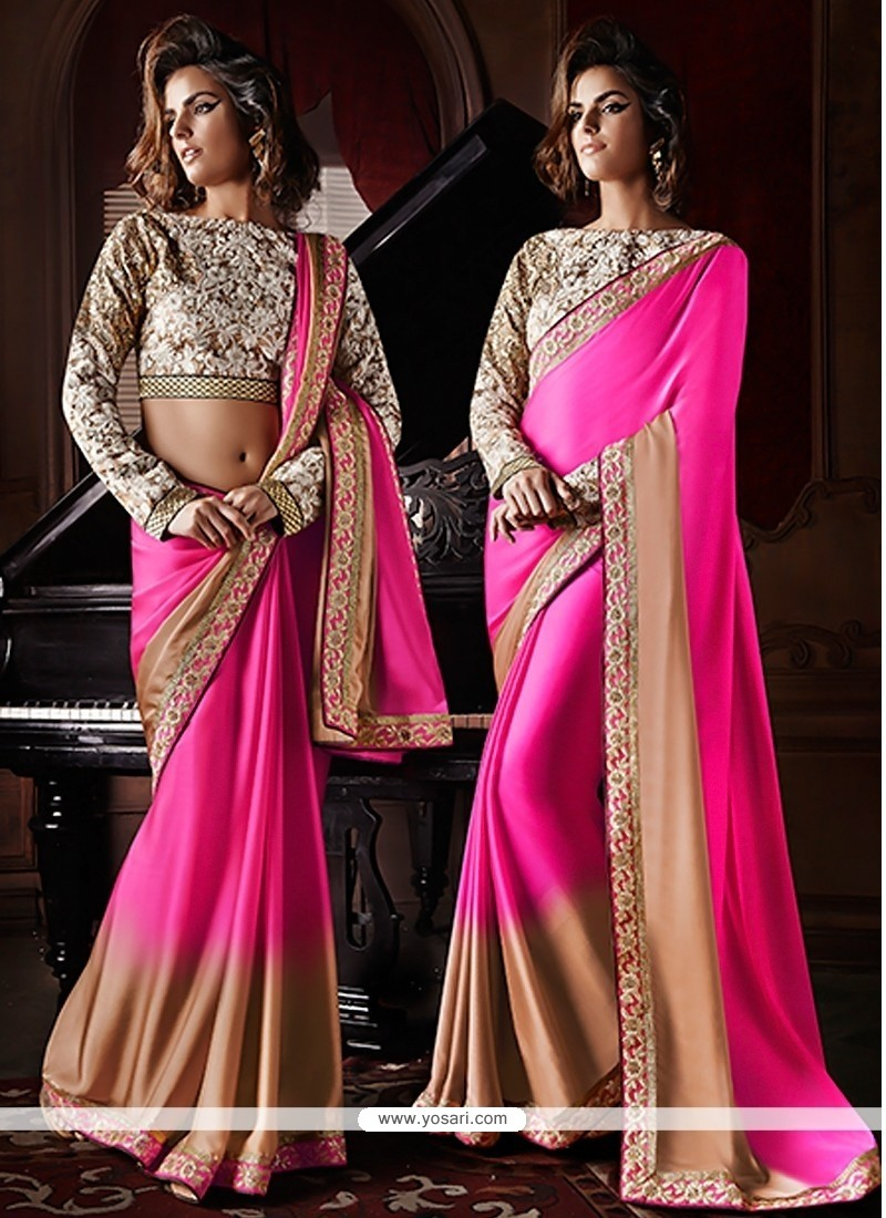 Pink And Cream Shaded Satin Georgette Saree