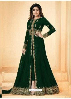 Dark Green Real Georgette Embroidered Floor Length Suit