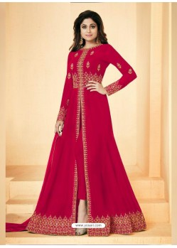 Red Real Georgette Embroidered Floor Length Suit