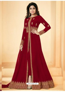 Maroon Real Georgette Embroidered Floor Length Suit