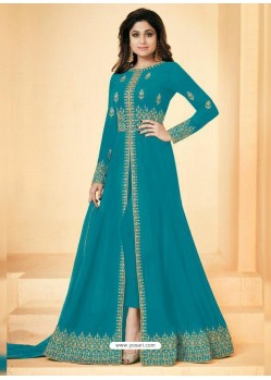 Turquoise Real Georgette Embroidered Floor Length Suit