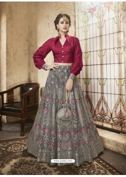 Maroon And Grey Net Heavy Embroidered Designer Lehanga Choli