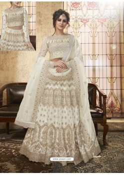 White Net Heavy Embroidered Designer Lehanga Choli