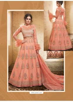 Peach Net Heavy Embroidered Designer Lehanga Choli