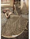 Beige And Coffee Net Heavy Embroidered Designer Lehanga Choli