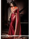 Charming Red Satin Georgette Wedding Saree