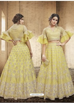 Yellow Net Heavy Embroidered Designer Lehanga Choli